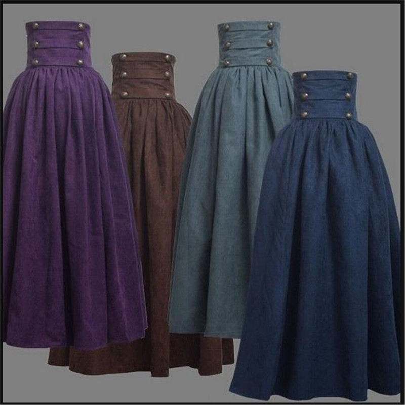 2019 New Woman Medieval Elegant Skirt Solid Hight Waist Middle Ages Renaissance Costumes Vintage Swing Pleated Skirts