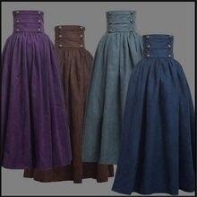 Saia medieval elegante e sólida, fantasia renascentista na cintura, vintage, balanço, plissada, com comprimento no joelho