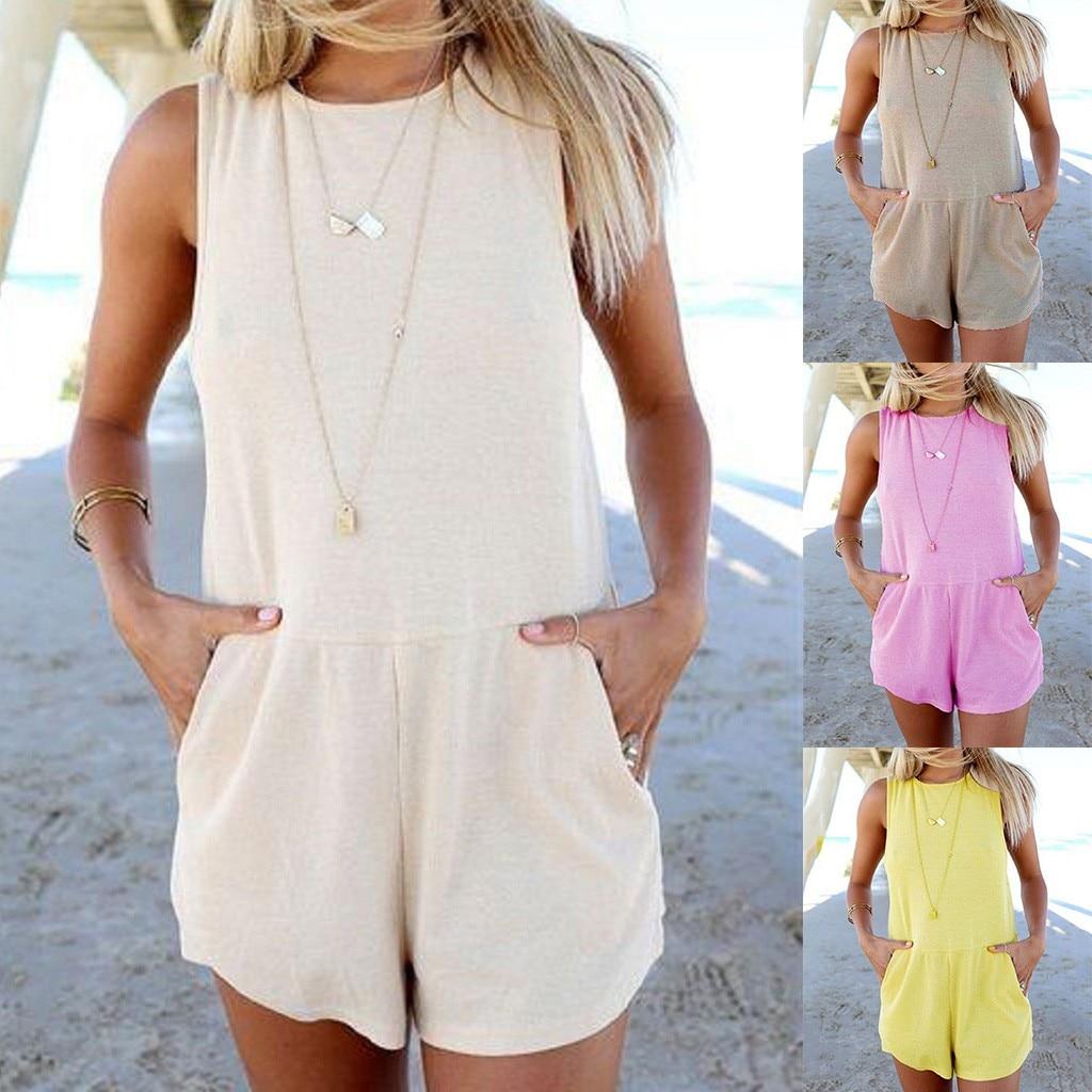 Hawcoar Summer Women New Fashion Sexy Solid Color Sleeveless Bow Pocket Slim Playsuits Jumpsuit Set комбинезон женский Z4