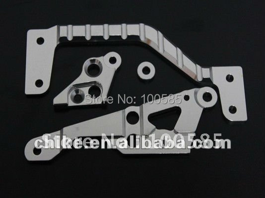 1 5 Baja CNC alloy engine mount set 6mm Silver Orange 1 5 scale HPI KM