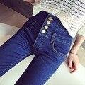 2016 мода тонкий высокая талия бинты джинсы женщин высокого стретч полная длина bodycon карандаш джинсовые брюки негабаритных mujer тощий жан