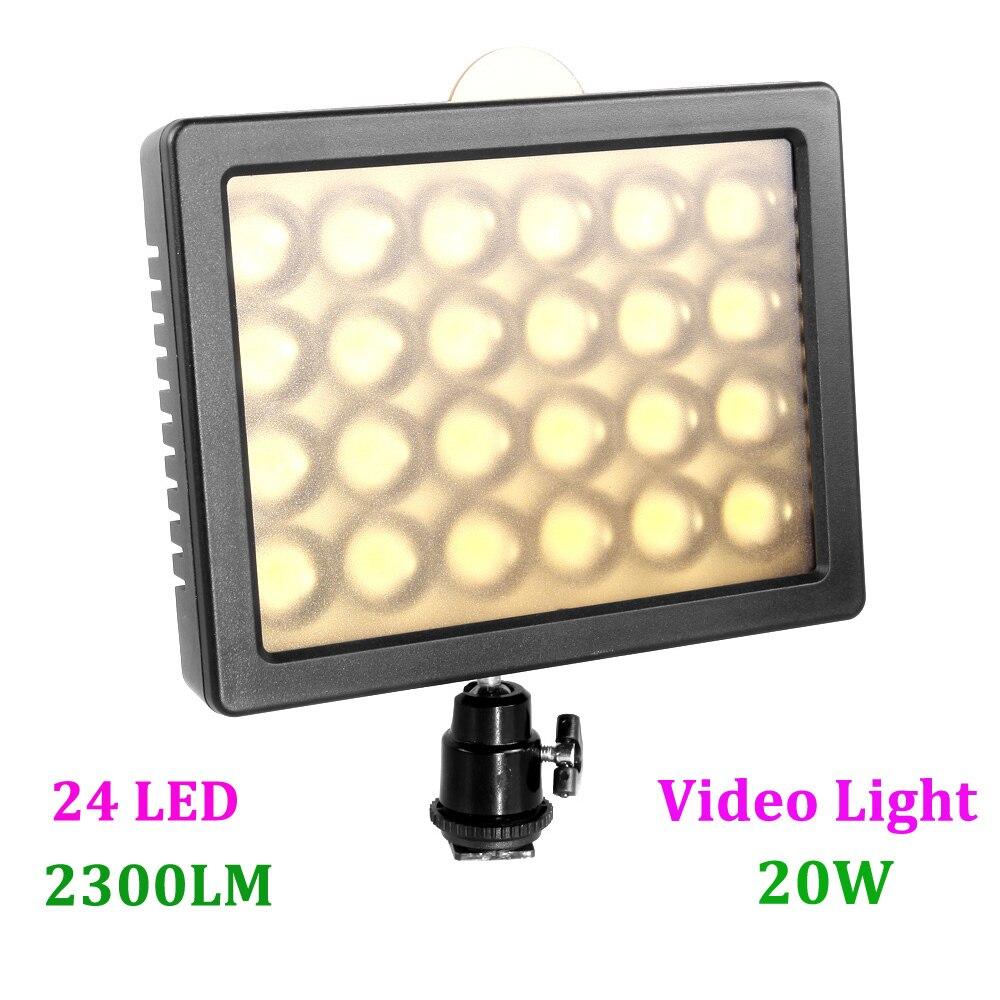 WANSEN W24 24 LED lampe de lumière vidéo 20 W 2300LM Dimmable éclairage pour DSLR caméra vidéo caméscope livraison directe