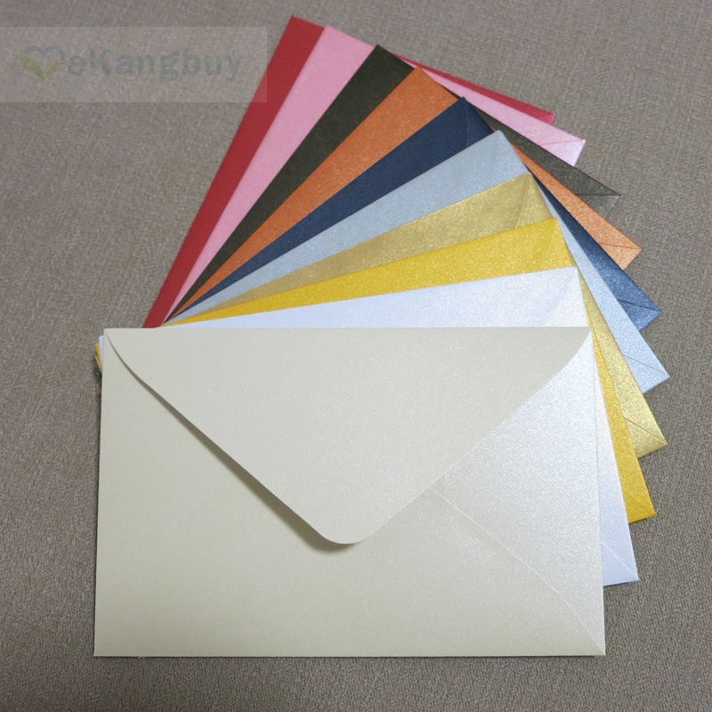 "50pcs 17x11cm(6.6"" x 4.3"") 120g Pearl Color Paper Envelope for Invitation Greeting Card Postcard-in Paper Envelopes from Office & School Supplies"