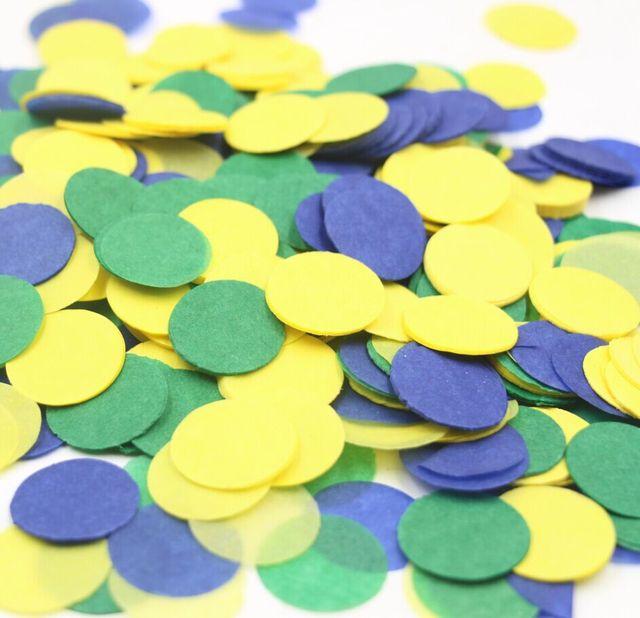 Boy Birthday Decor Baby Nursery Ideas Wedding Yellow Green And Blue Paper Confetti