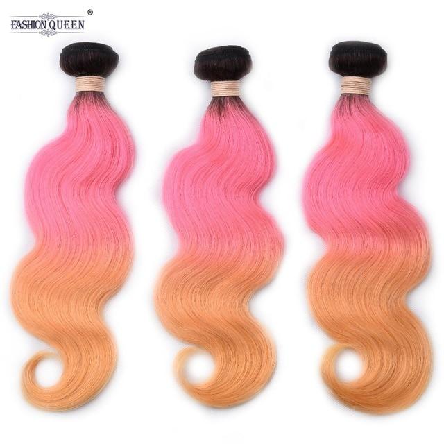 Brazilian Hair Weave Bundles Colored 1b Pink Orange Ombre Body Wave 100 Huma Extension