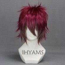 Dla miłośników DIABOLIK Sakamaki Ayato ciemno czerwony mix krótka peruka do Cosplay + czapka z peruką za darmo