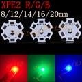 10 pcs cree xp-e2 xpe2 emissor levou luz 620nm vermelho azul 460nm 525nm verde sobre 20mm/16mm/14mm/12mm/8mm placa de alumínio pcb