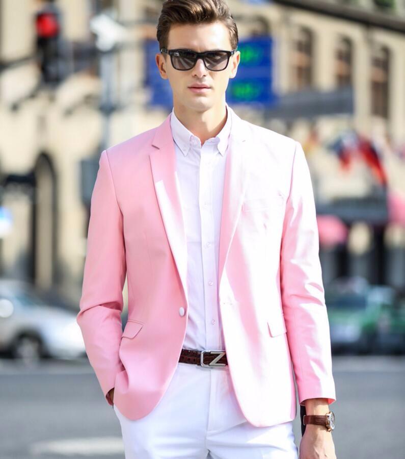 23.1 Pink men suit coat lapels a grain of buckle leisure suit birthday party family party man suit fashion customization