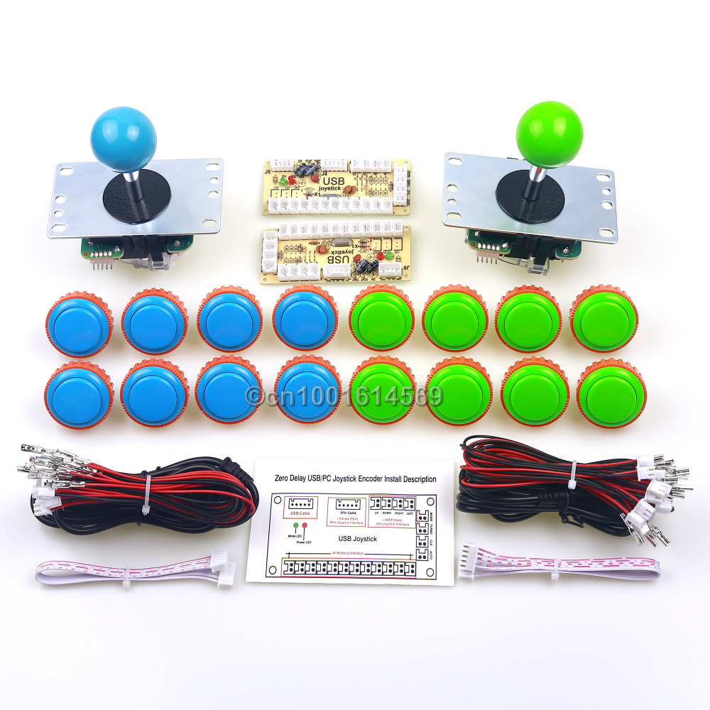 Genuine Sanwa 16x 30mm Sanwa Push Button + Arcade Sanwa Joystick JLF-TP-8YT + Zero Delay USB PC Encoder Board For Windows System sanwa button and joystick use in video game console with multi games 520 in 1
