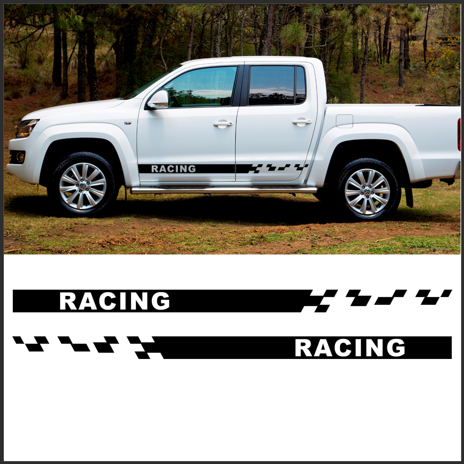 2 pc racing side stripe graphic vinyl car sticker for vw amarok 2010 accessories decal