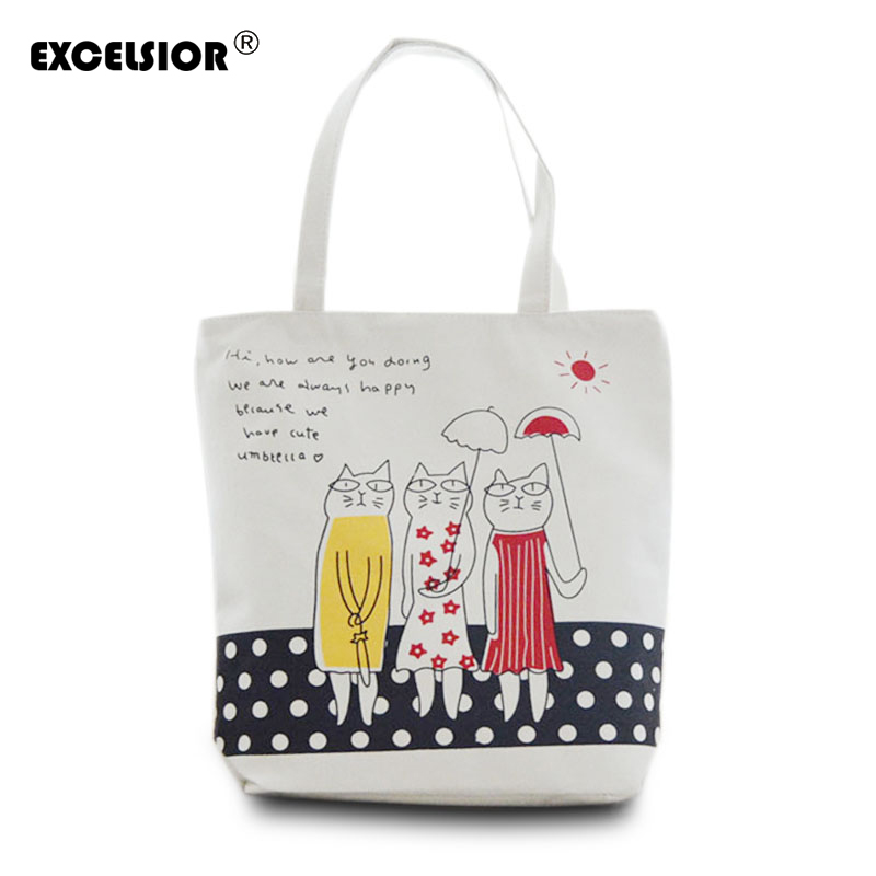 Famous Brands Female Beach Bags Women Canvas Shopping Bag Cartoon Cat Print Handbags Foldable Tote sac a main femme de marque bolsos bolsas sac a main femme de marque canvas shoulder ladies hand women messenger tote bags handbags famous designer brands