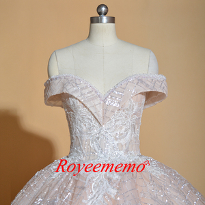 Image 3 - Vestido de Noiva off shoulder wedding dress Vintage Robe De Mariage special lace design shiny luxurious wedding dress factory