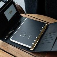 A5 A6 Licht luxus büro Business High-grade Treffen Lose Blatt Bindemittel Spirale Notebook 6 Loch Metall schnalle Tagebuch planer Agenda