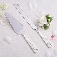 Personalized Pure Silver Color Two Rings Wedding Cake Serving Set Wedding Knife Pizza Knife 1016