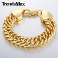 Trendsmax Customized Length 8-11inch 15mm Wide Mens Chain Double Curb Rombo Link Yellow White Rose Gold Filled Bracelet GBM84