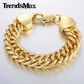 Trendsmax personalizado longitud 8-11 pulgadas 15mm ancho mens cadena enlace curb doble rombo amarillo blanco rosa de oro filled pulsera gbm84