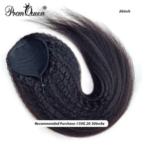 Promqueen Kinky Straight Brazilian Remy Human Hair Drawstring Ponytail Clip In Hair Extensions Ponytail Products