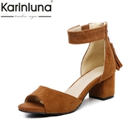 KARINLUNA small big size 30 47 hot sale fringes women shoes woman concise square med heels date party woman sandals female shoe