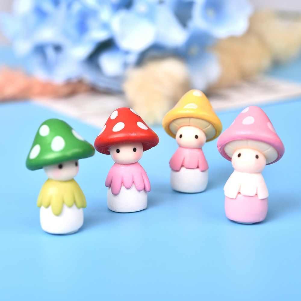5 pcs Cogumelo Figuras Boneca Decoração Mini Fada Jardim Dos Animais Estátua Em Miniatura Micro Musgo Ornamentos Paisagem Ofício da Resina