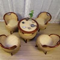 Новый 100% ротанга плетеное кресло набор мебель для гостиной гостиная чайный стул ротанга диван стол ратанговый деревянная мебель