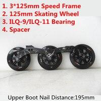 Japy ролик Powerslide 3*125 мм Скорость катание рамки с 125 колёса ILQ 9 подшипники 12,6 Встроенные коньки бассейна расстояние 195