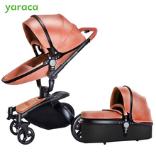 Luxury Baby Stroller With Separate Carrycot Black Frame 360 Degree Rotation Baby Carriage High landscape Pram