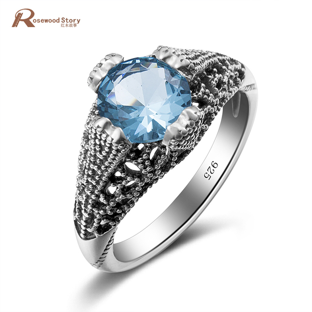 Vampire Diaries Damon Ring Hollow Out Round Cut Sky Blue Crystal Punk Vintage Real 925 Sterling