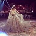 Удивительные кружева бальное платье свадебное платье 2015 урожай Vestido де Noiva блестящий кристалл бисероплетение суд поезд свадебные платья высокое качество