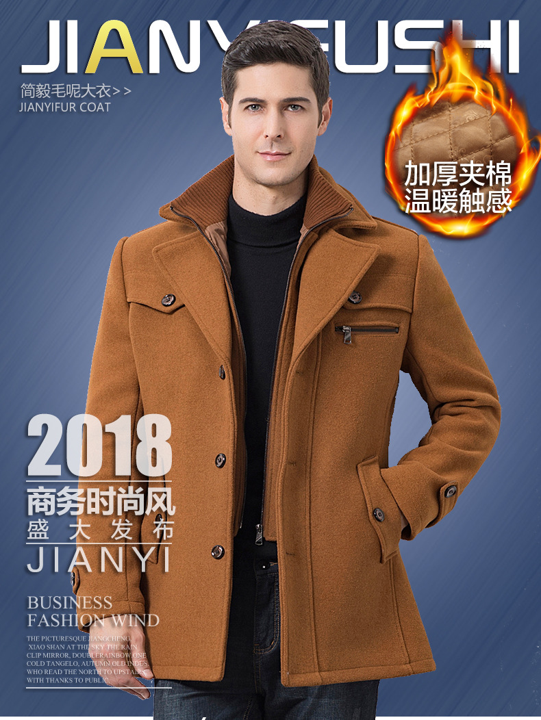 Winter Men's Casual Wool Trench Coat Fashion Business Medium Solid Thicken Slim Windbreaker Overcoat Jacket Male Plus Size 5XL 8