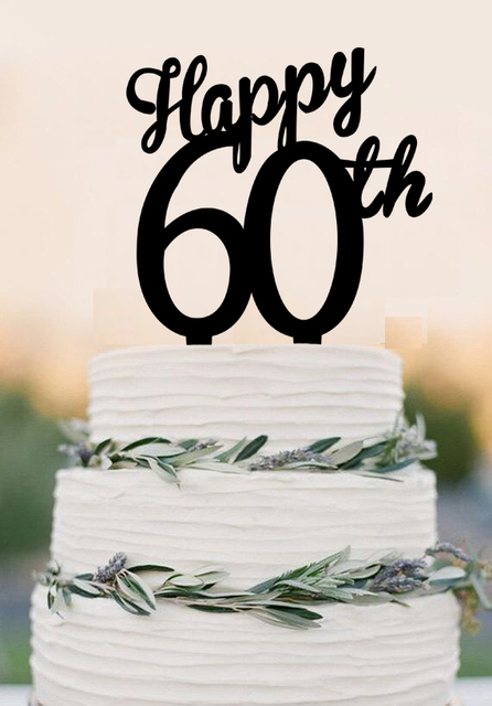 Acrylic Happy 60th Cake Topper60 Years Anniversary Toppercutsom Number Topper