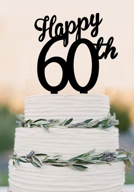 acrylique heureux 60e gteau topper 60 ans anniversaire gteau topper cutsom nombre gteau topper - Gateau Anniversaire 60 Ans