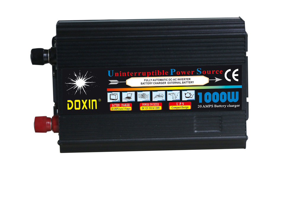LCD display 1KW/1000W UPS DC12V/24V INPUT to AC220V OUTPUT modified wave car power inverter with battery charging function 1kw 1000w wind turbine inverter inverter with lcd