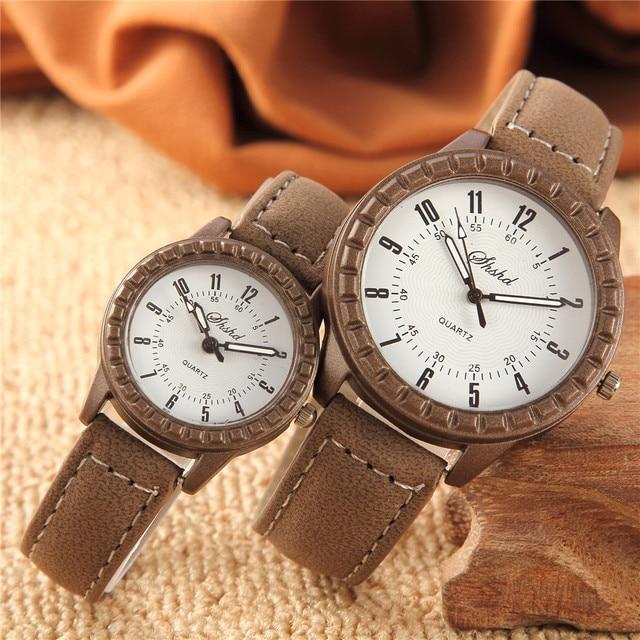 2 Pcs Hot Sales New Vintage leisure imitation wood pair watches men women lovers couple dress quartz wristwatch 1