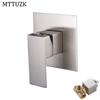 MTTUZK Square Solid brass Brushed Nickel In Wall Mounted Bathroom shower Control switch valve.Shower Mixer Control Valve Faucet