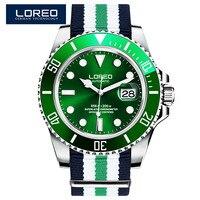 LOREO Mergulho Mens Relógios Top Marca de Luxo Safira 200 m Impermeável Militar Relógios Dos Homens Automáticos Mecânicos Relógios de Pulso Dos Homens
