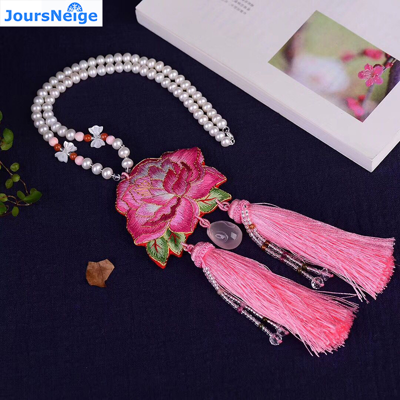 JoursNeige New Fashion Women Natural Fresh Water Pearl Necklace Pink Crystal Rabbit and Embroidery Fine flower Pendant Jewelry