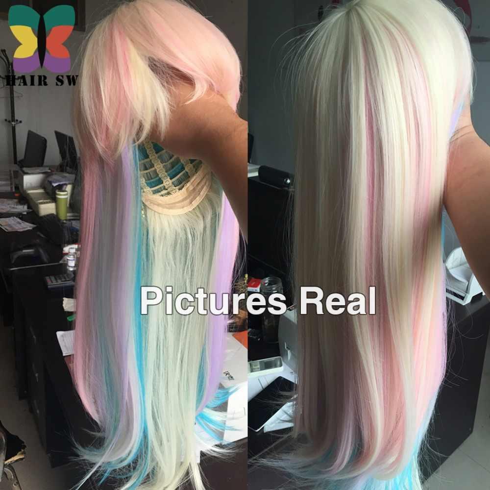 Волос SW длинные прямые Синтетические волосы сказочной принцессы парик красочные моменты блондинка парик Радуга Пастель термостойкие с челкой