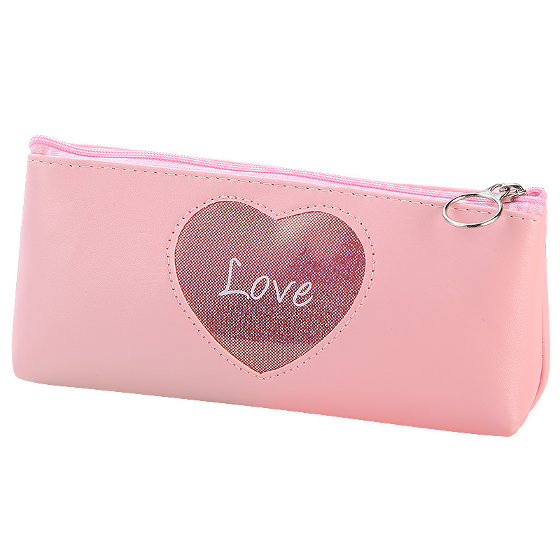 1 Pcs Kawaii Pencil Case Creative Laser Love Heart Pencil Bag Leather Student Storage Box Stationery Gift Office School Supplies