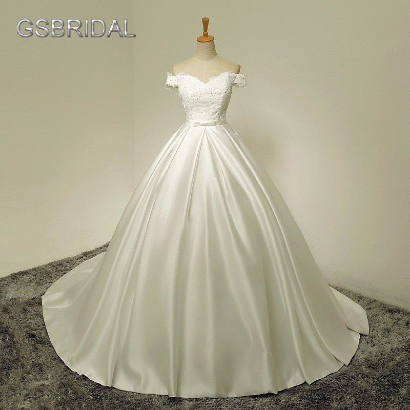 Vestidos Brancos 2017 Boho Vintage Wedding Dress Cap Sleeve Simple Satin Bride Dress Che ...