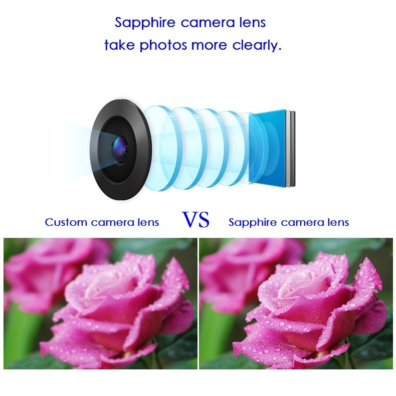 100% Original for Apple iPhone 6 Camera Lens; Sapphire Crystal Back Camera Glass Lens with Frame for iPhone 6 4.7 inch 3