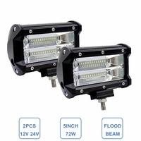 2x 5INCH 72W OFFROAD LED WORK LIGHT BAR FLOOD 12V 24V CAR TRUCK SUV BOAT ATV