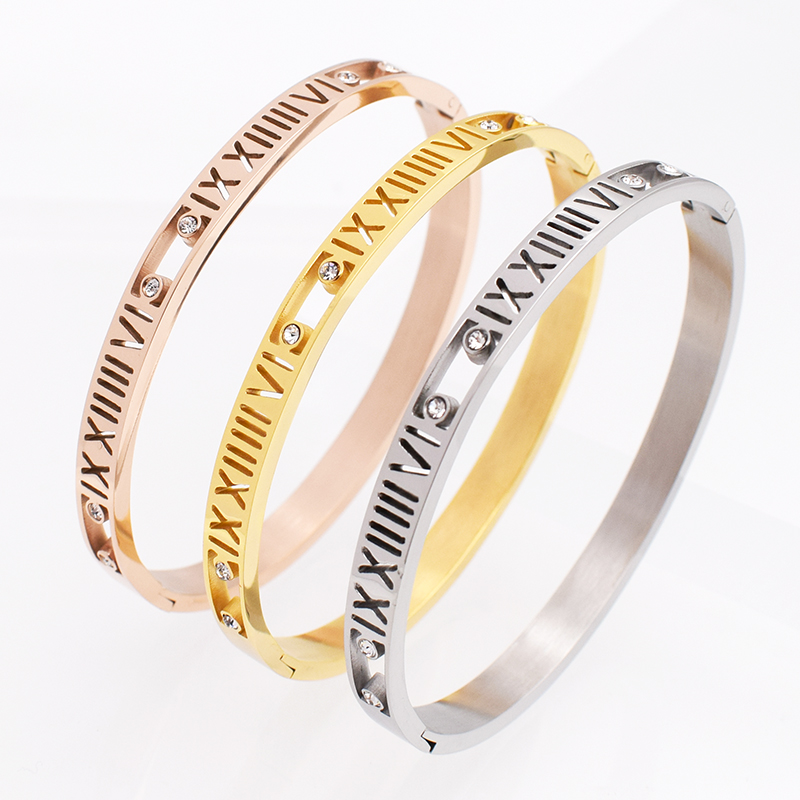 Women Wedding Bracelet Brand Luxury Roman Numerals Bangles & Bracelets For Women Romantic Zircon Bracelet For Valentines Gift