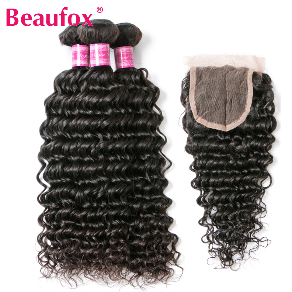 Beaufox Brazilian Deep Wave Human Hair 3 Bundles With Lace Closure 4*4 Free Part Remy Brazilian Hair Weave Bundles With Closure