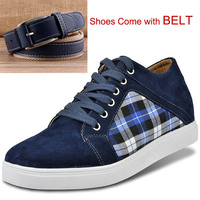 Comfort Breathable Casual Suede Leather and Canvas Shoes Hidden Lift insole Height Increase Elevator Shoes with Free Belt
