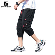 Men Cargo Pants Calf-length Trousers Male Summer Casual Thin Loose Multi-pocket Hip Hop Mens Large Size