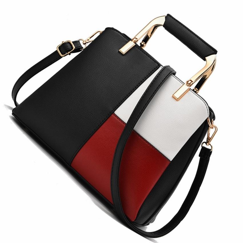 855301dcdf1 US $22.03 40% OFF women fashion color patchwork shoulder bags ladies top  handle modern messenger bag handbags big totes girls evening bags women-in  ...