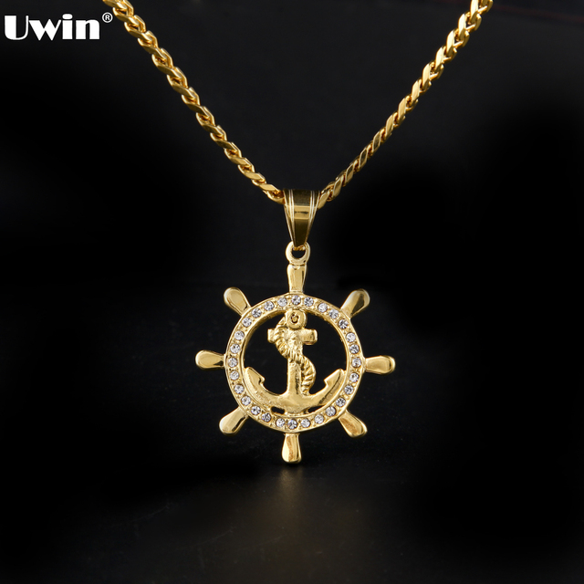 Hip hop fashion charm anchor and ships wheel nautical pendant hip hop fashion charm anchor and ships wheel nautical pendant crafted gold color on an 24 aloadofball Image collections
