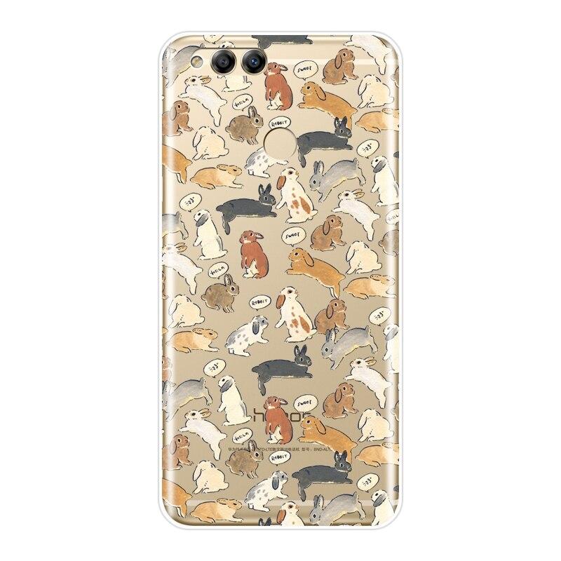 Задняя крышка для Huawei Honor 7 8 9 10 Lite 7S 7X 7A 7C Pro мягкий силиконовый Kawaii чехол для телефона с кроликом для Huawei Honor 10 9 8 8X MAX