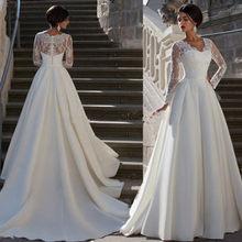 e6c56b439a7b9 CV Avrupa Tarzı V Boyun Uzun Kollu Dantel Aplikler Artı Boyutu düğün  elbisesi 2019 Bir çizgi Saten gelin elbise gelinlikler w004.