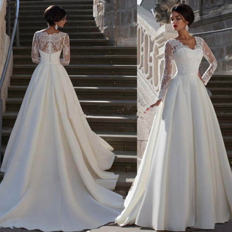 European Style V Neck Long Sleeve Lace Appliques Plus Size Wedding Dress A Line Satin Bridal Dress Wedding Gowns W0040